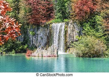 wasserfall, in, der, nationalpark, plitvice, lakes., croatia.