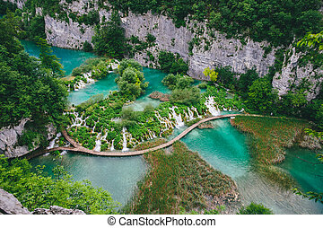 wasserfall, in, forest., plitvice, see