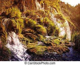 wasserfall, in, plitvice, nationalpark, kroatien
