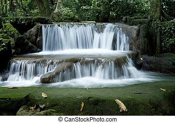 wasserfall, in, tropischer wald, thailand