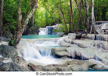 wasserfall, in, tropischer wald, von, thailand