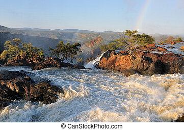 wasserfall, namibia, sonnenuntergang, ruacana