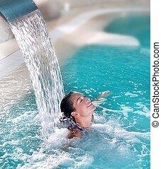 wasserfall, spa, frau, düse, hydrotherapie