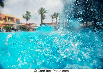 wasserfall, teich, schwimmender