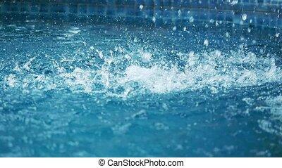 wasserfall, tropfen, herbst, auf, der, schwimmbad, surface.,...