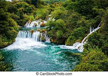wasserfall, von, krka, nationalpark, kroatien