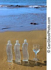 wasserglas, flaschen