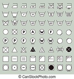 wasserij, symbolen, lijn, ontwerp