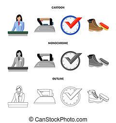wasserij, symbool, web., verzameling, bitmap, ontwerp, propere kleren, logo., liggen
