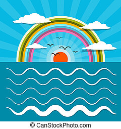 wasserlandschaft, abstrakt, retro, vektor, abbildung, mit, sonne, vögel, regenbogen