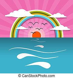 wasserlandschaft, abstrakt, sonnenuntergang, sonnenaufgang, vektor, abbildung, mit, sonne, vögel, regenbogen