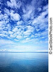 wasserlandschaft, blau, himmelsgewölbe