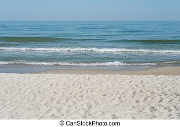 wasserlandschaft, sandstrand, sandig