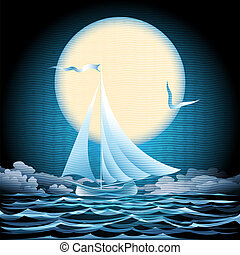 wasserlandschaft, segelboot