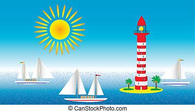 wasserlandschaft, segelboote, leuchturm