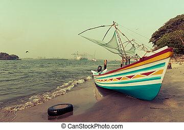 wasserlandschaft, traditionelle , indische , boot, kueste,...