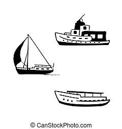 wasserlandschaft, transport, set., segeln, und, motorboote, yacht, motor, boat.