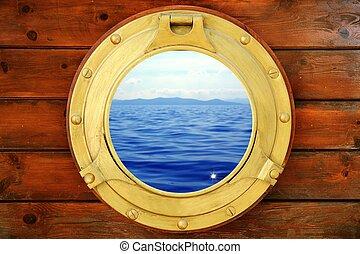 wasserlandschaft, urlaub, geschlossene, bullauge, boot, ansicht