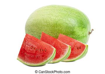 wassermelone, freigestellt, weiß