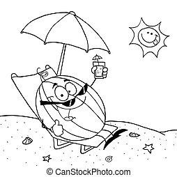 wassermelone, karikatur, umrissen