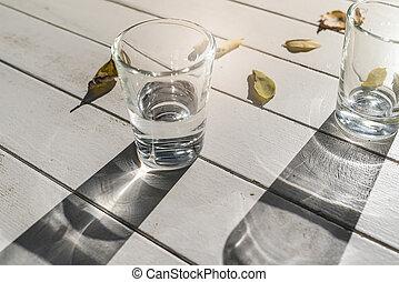 wasserstand, weißes, zwei, brille
