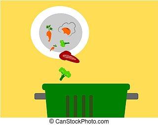 wast food in to bin ,illustration vector.