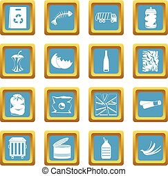 Waste and garbage icons azure