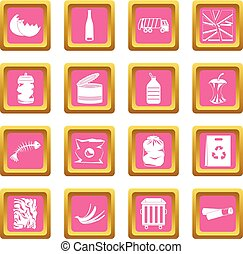 Waste and garbage icons pink