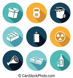 Waste and recycling Icons Set. Vector Illustration.