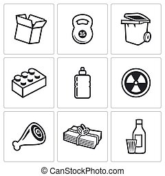 Waste and recycling Icons. Vector Illustration.