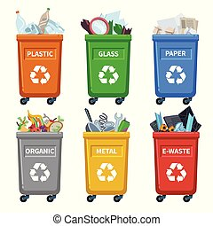 Waste bin categories. Trash recycle, separating garbage containers. Organic paper plastic glass metal mixed waste vector chart