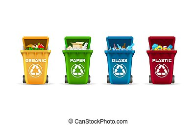 Waste bins, waste sorting, organic plastic glass and paper, a set of colored containers