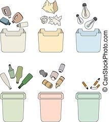 waste., clasificación, aislado, objetos