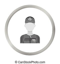 Waste collector icon in monochrome style isolated on white background. Trash and garbage symbol stock vector illustration.