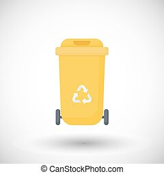 Waste container flat vector icon