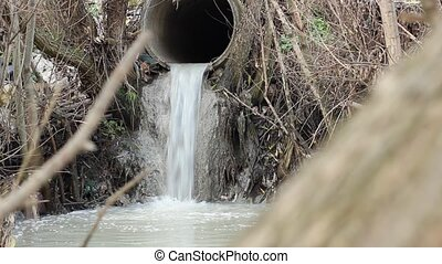 Waste Discharge River Pipe - Wastewater dirty and smelly,...