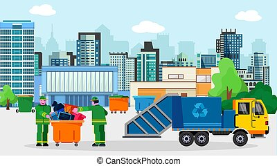 Waste disposal removal recycling concept megalopolis vector ...