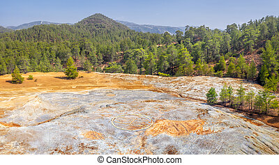 Waste dumps from copper mining in Paphos forest, Cyprus