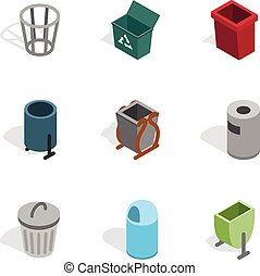 Waste equipment icons, isometric 3d style