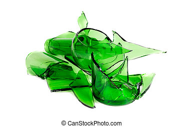 Waste glass. Recycled. Shattered green bottle