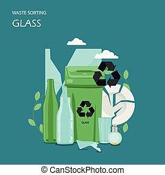 Waste glass sorting vector flat style design illustration