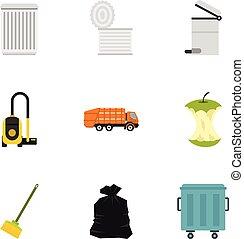 Waste icons set, flat style