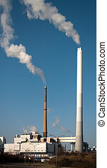 Municipal waste incineration in Mannheim in Germany
