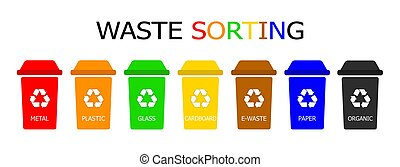 Waste management. Colored garbage cans for recyclable waste. Color vector icons