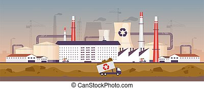 Waste management plant flat color vector illustration. Recycling factory 2D cartoon landscape with chimneys on background. Industrial trash processing facility panorama. Garbage disposal business