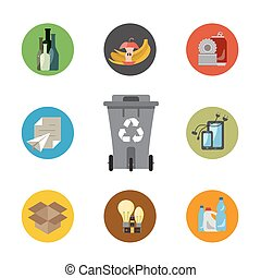 Waste managment flat concept - Garbage sorting flat concept....