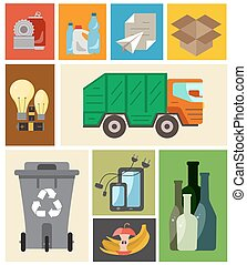 Waste disposal flat concept. Vector illustration of waste disposal categories with organic, paper, plastic, glass, metal, e-waste, batteries, light bulbs and mixed waste. Waste disposal icons set.