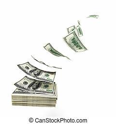waste money - 3d image of flying dollars