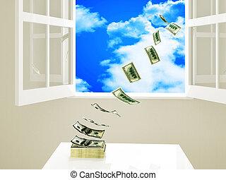 waste money - dollar money on table fly away