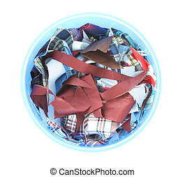 Waste multiple fabric in blue trash can.
